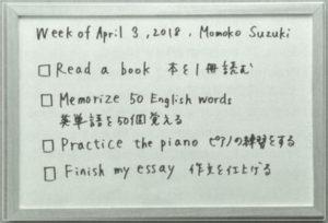 廣津留すみれさんのweekly to do list